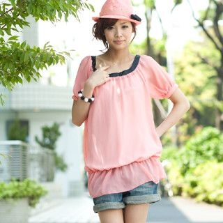 Picture of ageha@shibuya Bow-Back Drop-Waist Chiffon Tunic Light Pink - One Size 1022589670 (ageha@shibuya Apparel, Womens Blouses, Japan Apparel, Japan Blouses)