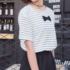 Striped Bow-Accent T-Shirt 1596