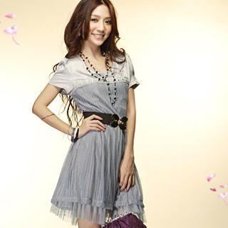 "Buy Tokyo Fashion Short-Sleeve ""Bow"" Belt Lace Dress 1022590123"