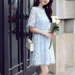 Set: Crochet Lace Short-Sleeve A-Line Dress + Strappy Dress 1061783353