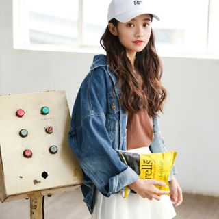 Image of Frayed Hem Denim Jacket