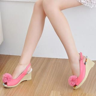Picture of KAWO Pompom Slingback Wedges 1022901431 (Other Shoes, KAWO Shoes, China Shoes, Womens Shoes, Other Womens Shoes)