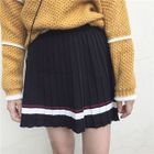 Striped Pleated Knit Skirt 1596