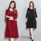 Buttoned Back 3/4-Sleeve A-Line Dress 1596