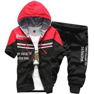 Set: Hooded Short-Sleeve Lettering Jacket + Cropped Lettering Sweatpants 1049073568
