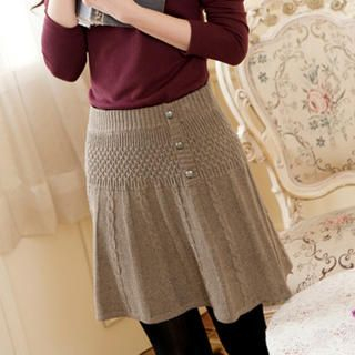 Buttoned Cable-Knit Skirt