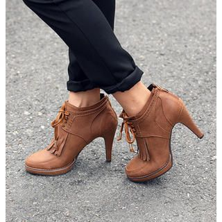 Fringe Accent Lace-Up Boots