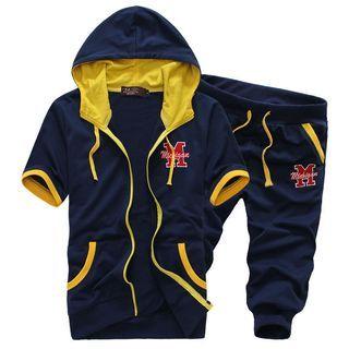 Set: Hooded Short-Sleeve Jacket + Cropped Sweatpants 1049075359