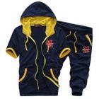Set: Hooded Short-Sleeve Jacket + Cropped Sweatpants 1596
