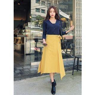 Band-Waist Asymmetric-Hem Long Wrap-Front Long Skirt 1061910233