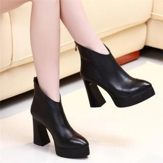 Genuine Leather Block Heel Ankle Boots