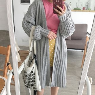 Plain Long Ribbed Cardigan 1062776341