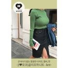Round-Neck Long-Sleeve Slim-Fit Ribbed Knit Top 1596
