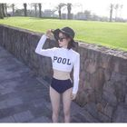 Set: Lettering Cropped Rashguard + Swim Bottoms 1596
