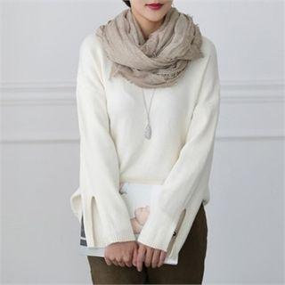 Crewneck Slit-Sleeve Knit Top 1053664256
