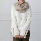 Crewneck Slit-Sleeve Knit Top 1596