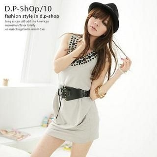 Buy D.P-Shop Jeweled V-Neck Dress Grey – One Size 1022906967