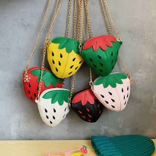 Image of Kids Faux Leather Strawberry Crossbody Bag