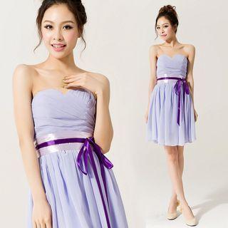 Strapless Tie-Waist Party Dress 1057228839