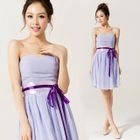 Strapless Tie-Waist Party Dress 1596