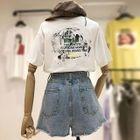 Set: Short-Sleeve Lettering T-Shirt + Denim Shorts 1596