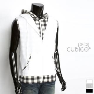 Buy CUBICO Check Trim Hooded Vest 1022772743