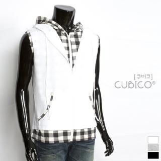 Picture of CUBICO Check Trim Hooded Vest 1022772743 (CUBICO, Mens Tees, Korea)