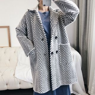 Image of Patterned Double-Breasted Coat As Shown In Figure - One Size
