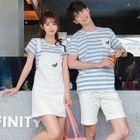 Couple Matching Set : Stripe Short-Sleeve T-shirt + Shorts / Pinafore 1596