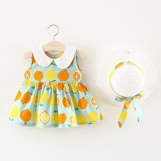 Sleeveless   Orange   Dress   Print   Sun   Kid   Hat