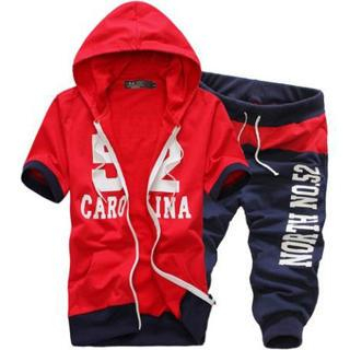 Set: Short-Sleeve Lettering Hooded Jacket + Cropped Sweatpants 1036088370