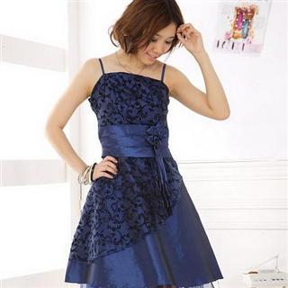 Buy Xunia Rosette-Accent Layered Sleeveless Party Dress Blue – One Size 1022823279