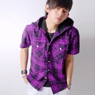 Buy SLOWTOWN Short-Sleeve Plaid Hooded Shirt 1023009149