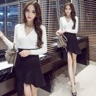 Set: V-Neck Ribbed Sweater + Ruffle Hem Asymmetric Skirt 1596