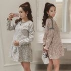 Maternity Lace Long-Sleeve Dress 1596