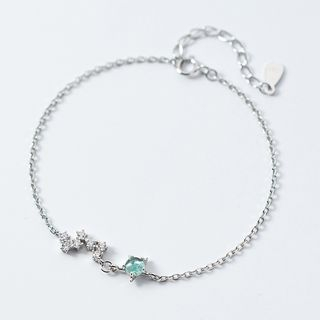 Rhinestone | Bracelet | Sterling | Silver | Green | Bean | Star | Size | One