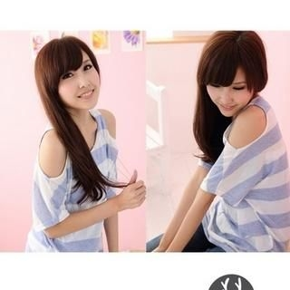 Set: Off-Shoulder Striped Tee   Tank Top Light Blue - One Size