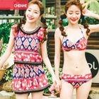Set: Floral Bikini + Top + Skirt 1596