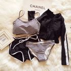 Set: Striped Bikini + Shorts + Rashguard 1596