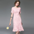 Short-Sleeve Lace Ruffled Dress 1596