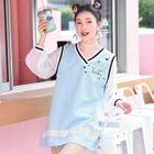 Long-Sleeve Sheer Panel Mini Dress 1596
