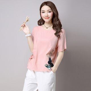 Elbow-Sleeve V-neck T-Shirt 1052962514