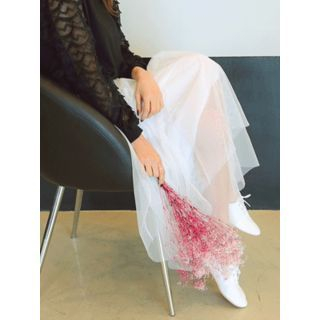 Band-Waist Long Tulle Skirt 1057189607