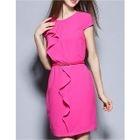 Ruffle Trim Short Sleeve Sheath Dress 1596