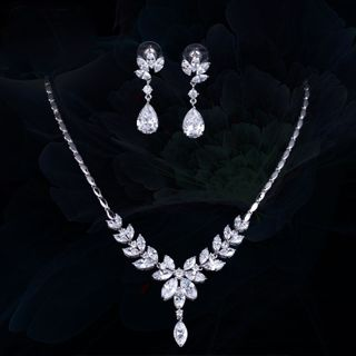 Image of Set: Rhinestone Branches Pendant Necklace + Dangle Earring