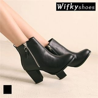 Zip-Side Chunky-Heel Ankle Boots