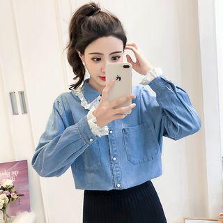 Image of Eyelet Lace Panel Denim Shirt Denim Blue - One Size