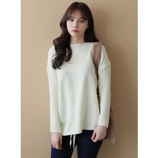 Coat-Neck Drop-Shoulder Knit Top 1064489805