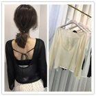 Open Black Long-Sleeve Knit Top 1596