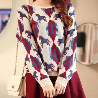 Image of Horse Pattern Knit Top